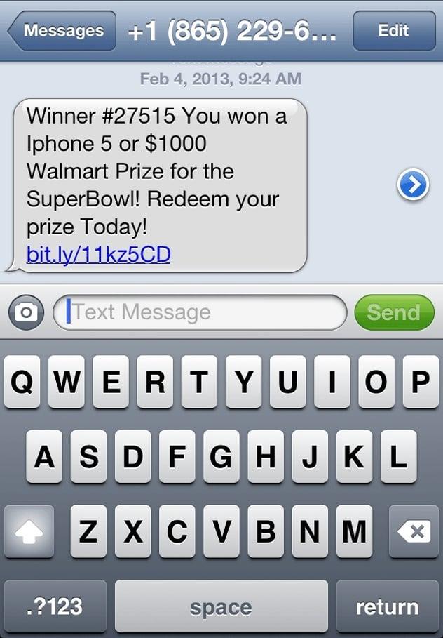 Fake_Prize_Text_Message_SmiShing_Mobile_Hacking_method